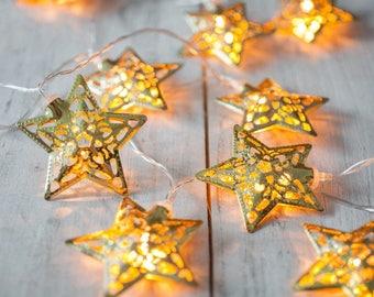 10 gold Star Eid Decoration Lights Eid Lights Ramadan Decorations Eid Party Muslim Festival Mehndhi Lights Fairy Lights Eid Decor Ramadan