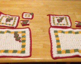 Crocheted kitchen set - Placemats, potholders, coasters and napkin ring