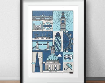 London - City Print  // London Architecture // Statement Poster // Gifts for new home // Handmade Illustration // Design // Personalised