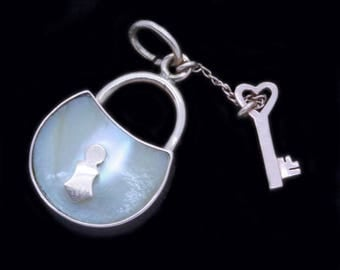 Antique Georgian Pendant Lock and Key 18k Gold Mother of Pearl French (#6389)