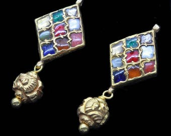 Antique Earrings 22k Gold Diamonds Gems Navaratna Kundan 9 Gem Amulets (#6451)