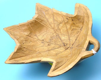 Carved Wood Maple Leaf Bowl Signed by Girard Fortin, Quebec, Canada