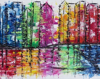 MEDArts Original palette knife painting Abstract Impasto Cityscape ColorfulTexture Buildings White Blue Red Yellow Orange Purple