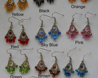 Small Chandelier Earrings- Available in White, Pink, Red, Orange, Yellow, Green, Green/Blue, Sky Blue, Brown, Black