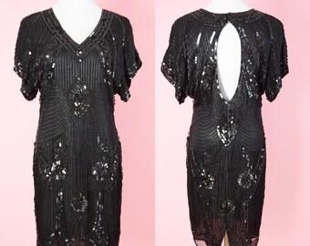 Vintage Silk Beaded Cocktail Dress // Stenay, Black Sequins, Art Deco, Party Dress, Women Size Medium, Large