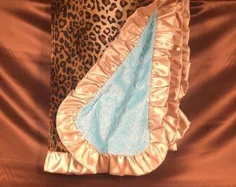 LEOPARD AQUA PAISLEY Adult Minky Blanket-Throw-Travel Blanket-Cream/Black Leopard Velboa + Aqua Paisley Embossed Minky + Gold Satin Ruffle
