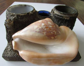 Vintage Folk Art Inkwell Set Seashell Primitive Funky Shabby Desk Set