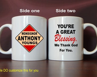 Monsignor Catholic Priest Coffee Mug Gift, Custom Reverend Father Gift for Father's Day-Birthday-Thanksgiving-Christmas from Church, MST012