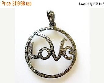 50% OFF 1 Pc Pave Diamond LOVE Pendant - 925 Sterling Silver Pave Setting Pendant - Love Pave Diamond Pendant Size 39mm