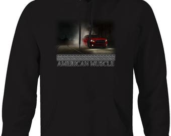 American Muscle Dodge Challenger Burnout at Night City Hooded Sweatshirt- 5087