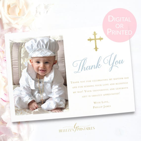 baptism thank you for boy baby blue baptism thank you card