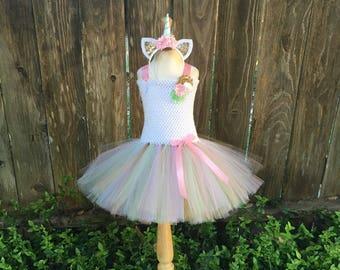 Pastel unicorn tutu dress - unicorn tutu -  girls costume - Halloween costume - unicorn dress - pink white mint gold tutu - unicorn costume