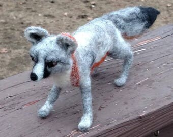 Felted gray fox felted animals OOAK wool felted fox