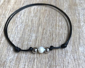 Silver Beaded Anklet, Waxed Cord Anklet, Black Pearl Anklet, Adjustable Anklet, Waterproof WA001493