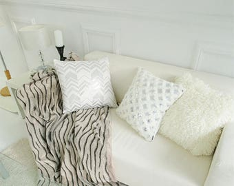 "Metallic Silver White Sequins Chevron Square Cushion 18"" X 18"""