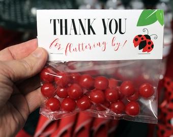 Ladybug Treat Toppers, Ladybug Printable Party, Ladybug Treat Bags, Ladybug Printables, Ladybug Favors, Little Lady Printables