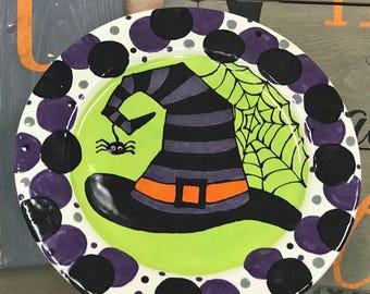 Halloween Pottery, Halloween plate, Witch hat plate, Halloween decor