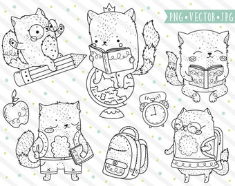 School Cats Clipart Images, Cat Digital Stamps, Hand Drawn Clipart, Line Clip Art, Cute Cat Illustration Set for Teachers, Classroom School