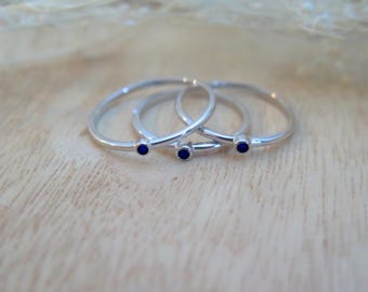 Sterling Silver & blue sapphire stacking ring | Tiny sapphire ring | Simple stacking ring | Tiny stone ring |  Everyday sapphire ring