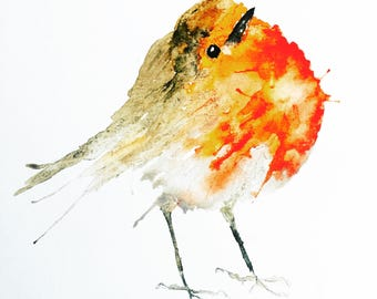 Robin Redbreast Watercolour Print