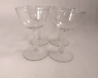 Vintage Set of 4 Clear Indiana Glass Wine Glasses