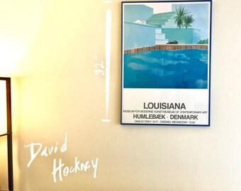 "David Hockney Swimming Pool Poster from ""Louisiana"" Museum for Moderne Denmark - 1971 Hockney Art Show Original Poster - Framed Poster Blue"
