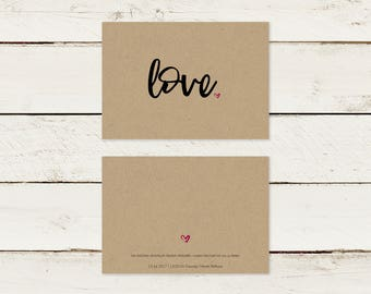 Wedding invitation   Kraft paper   love