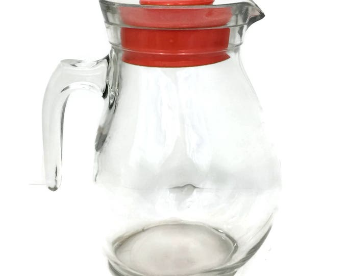 Mid Century Modern Glass Pitcher with Red Plastic Lid Made in Italy