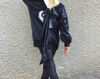 Extravagant Black Jacket, Plus Size Jacket, Amazing Maxi Extravagant Jacket, Loose Casual Jacket by SSDfashion