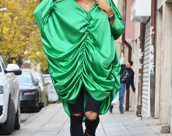 New Asymmetric Green Maxi Dress, Womens Style Long Tunic Top, Extravagant Long Dress, Loose Kaftan by SSDfashion