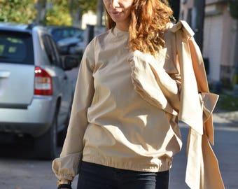 New Loose Extravagant Sleeves Shirt, Women Asymmetric Shirt, Sexy Cotton Shirt, Elegant Shirt By SSDfashion