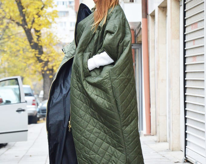 Military Green Sleeveless Maxi Vest, Quilted Warm Windproof Long Zipper Coat, Side Pockets Winter Jacket by SSDfashion