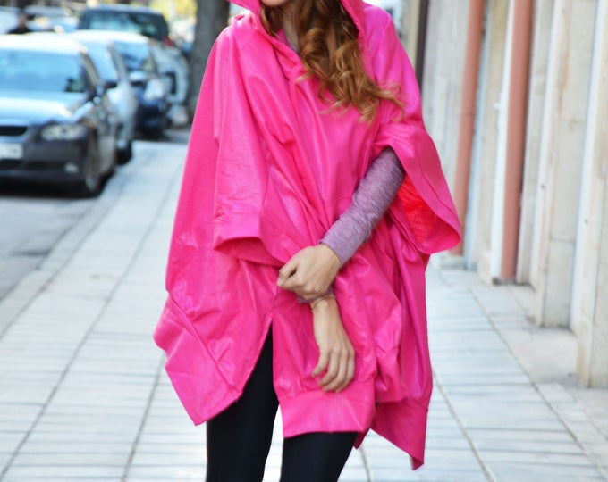 Asymmetric Pink Hooded Linen Sweater, Extravagant Jacket with Side Pockets, Handmade Hoodie by SSDfashion