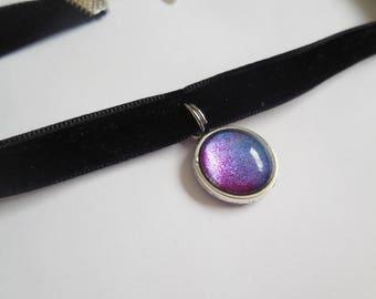 Black velvet galaxy pendant choker handmade