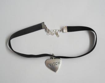 Witch heart velvet choker necklace handmade