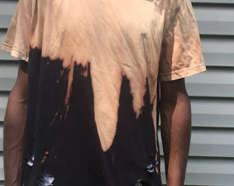 Distressed Bleached Black vintage tshirt Yeezy style