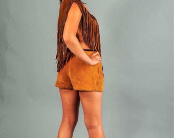 Vintage brown leather collar/poncho with fringe