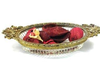 Filigree Gold Plate Ormolu Soap Dish,  24 Karat Glass Powder Room Tray,  Potpourri Bowl, Vintage 1950s