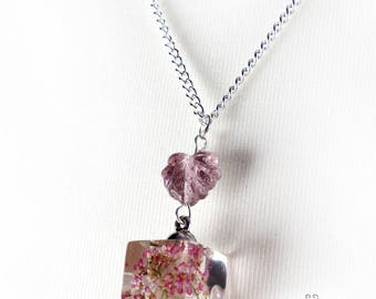 Pink flowers cube necklace