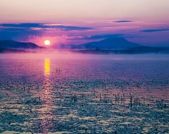 Mountain Sunrise, Landscape Photo, Raquette Lake, Adirondack Mountains, Colored Skies, Fine Art Photography, Raquette Sunrise Print