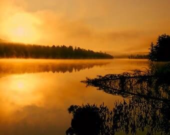 Yellow Sunrise Photo, Adirondack Mountain, Fine Art, Adirondack Sunrise, Nature Photography, Picture of Sunrise, Nature Print, Sunrise Photo