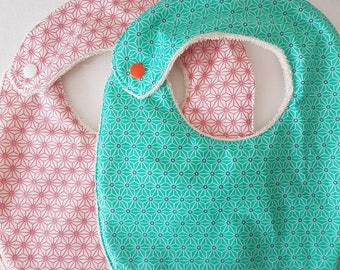 Cotton bib coated oekotex and cotton organic Terry GOTS, colourful bib patterns