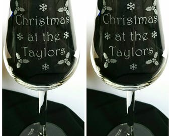 Pair of Engraved Christmas Wine Glasses - Personalised with Family Name - New - Handmade