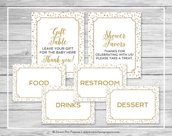 White and Gold Baby Shower Table Signs - Printable Baby Shower Table Signs - White and Gold Confetti Table Signs - EDITABLE Signs - SP149