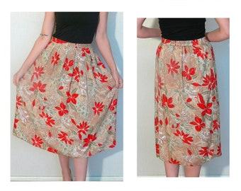 Floral skirt - knee length skirt beige red