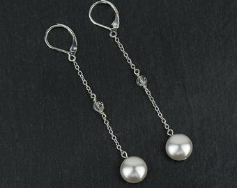 NAOMI bridal earrings with Swarovski crystal clear beads and Swarovski white pearls