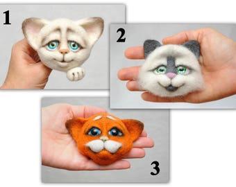 Pet gift Pocket pin Best Friend Gift Cat lover gift Felt Cat pin Felt Cat brooch Cat toy Animals Felt Toys Friendship Gift bestfriend gift