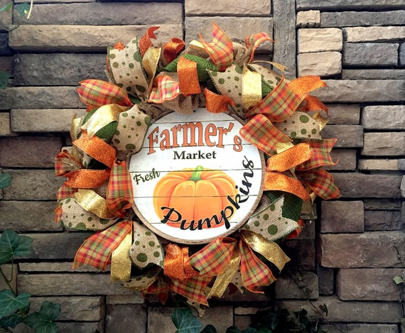 Fall Wreath, Thanksgiving Wreath, Pumpkin Wreath, Autumn Wreath, Harvest Wreath, Fall Decoration, Fall Burlap Wreath, Fall Decor, Wreaths