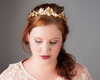 Romantic Bridal Crown, Gold Leaves, Princess