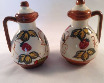 Vintage hand painted ceramic salt and pepper shakers